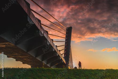 Foto auf Gartenposter Cappuccino Kwidzyn, Poland. Brige over Vistula river