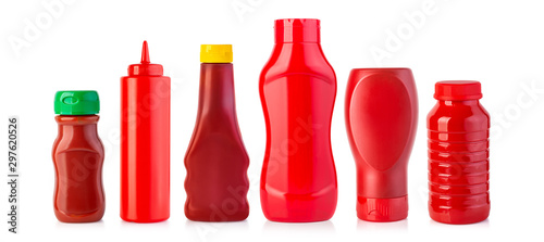 Cuadros en Lienzo  plastic Bottles of Ketchup isolated