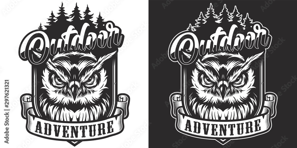Fototapety, obrazy: Vintage monochrome outdoor adventure label