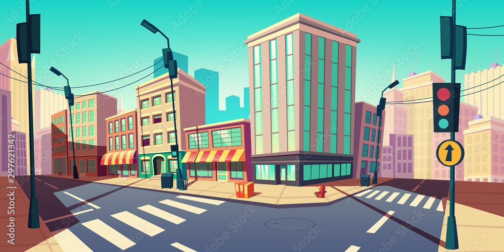 Fototapeta City road turn, empty street with transport highway with marking, arrow sign, sewer manhole, lamps and buildings. Urban architecture, infrastructure megapolis exterior Cartoon vector illustration