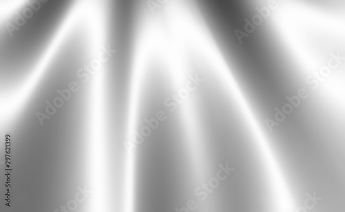 Obraz Silver white shiny material with folds in draped silk or satin material design, luxury white background in wavy rippled cloth with smooth metallic fabric texture - fototapety do salonu