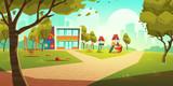 Przedszkole plac zabaw dla dzieci, pusty obszar dla dzieci z przedszkola kolorowy budynek, zielona trawa, zjeżdżalnie i huśtawki do zabawy i rekreacji zabawy w okresie letnim Ilustracja kreskówka wekt