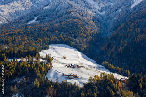 Winter, snow, Val di Funes; Dolomites mountains; Trentino-Alto Adige; South Tiro Canvas Print