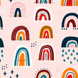Various rainbows. Kids drawing style. Different ornaments. Childish scandinavian style. Flat design. Hand drawn colored vector seamless pattern. Modern trendy illustration. Pink background