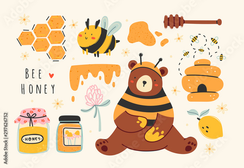 Canvas Print Set of cute bee, tasty healthy honey, jars, hive, honey spoon, flower, bear, honeycomb