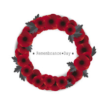 Remembrance Day Vector. Red Poppies Wreath On White Background.