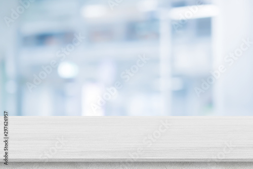 Obraz abstract blurred clean pharmacy drug store shelf with medicine for shopping with white wood texture plain for ads,promote product on display - fototapety do salonu
