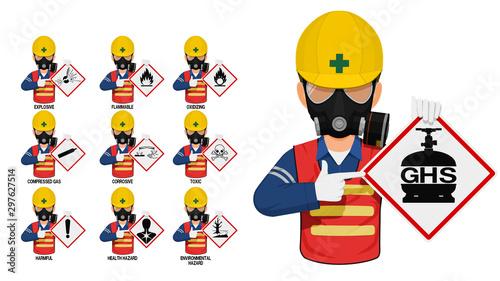 Fotografiet Set of industrial worker is presenting the GHS pictogram.