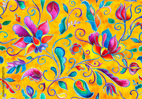 Fototapeten Künstlich Watercolor hand painted oriental floral seamless pattern. Colorful orange yellow whimsical flowers, leaves, brunches, paisley illustration. Traditional arabic drawn ornament for ceramic tile design.