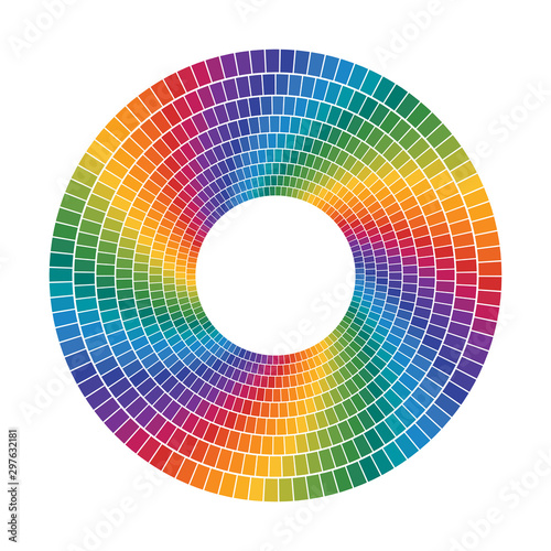 Photo  color tiles that makes a concentric circles