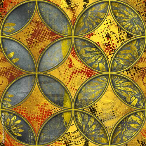 rzezbiacy-okregu-wzor-na-grunge-tla-bezszwowej-teksturze-patchworku-wzor-zlocisty-kolor-3d-ilustracja