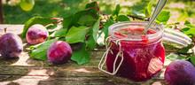 Glass Jar With Plum Jam Confit...