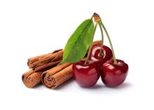 Cinnamon Sticks With Cherry Fruits.
