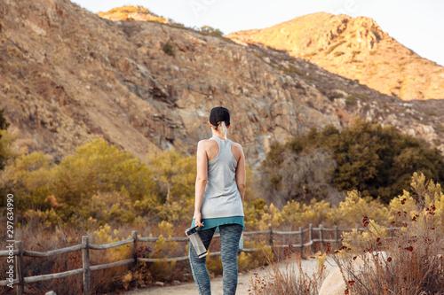 Girl admiring hills on a hike Canvas Print
