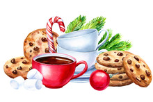 Composition Of Cookies With Chocolate, Cups And Saucers, Marshmallow On An Isolated White White Background, Watercolor Illustration, Hand Drawing, Tea Party