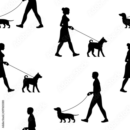 obraz lub plakat Seamless pattern with Silhouette Man and Woman walking the dogs. isolated on white background