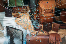 Shattered Window Of A Store