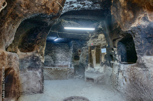 Valokuvatapetti interior of a cave church with carved christian symbols of Byzantine civility in