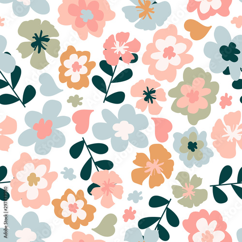 fototapeta na lodówkę Seamless pattern with colorful pretty flowers, leaves and floral elements. Floral colorful design for baby products, fabric, wallpaper and more