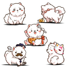 Set Cute Cartoon Pomeranian Do...