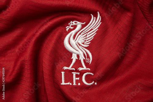 BANGKOK,THAILAND-OCTOBER 23: Logo of Liverpool Football Club on the Jersey on October 23.