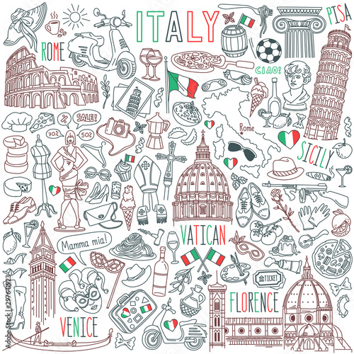 Fototapeta Italy doodle set. Famous landmarks and traditional Italian symbols - architecture, cuisine, Venice carnival. Objects isolated on white background obraz