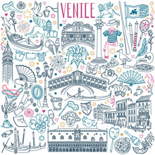 Venice Doodle Set. Venetian Carnival Masks, Landmarks, Italian Cuisine And Gondolas. Vector Drawing Isolated On White Background