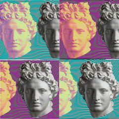 Contemporary art concept collage with antique statue head in a surreal style....
