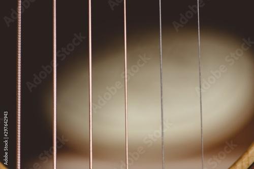 Plakaty Instrumenty Muzyczne   closeup-shot-of-guitar-strings-with-a-blurred-background