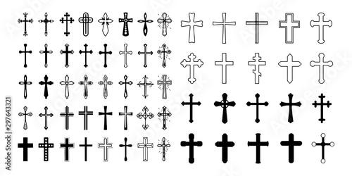 Fotografie, Obraz  Set christian cross vector symbol flat and outline style