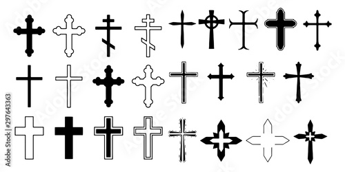 Foto  Set christian cross vector symbol flat and outline style