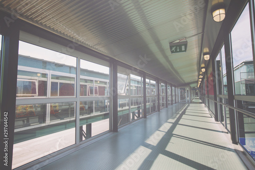 Keuken foto achterwand Treinstation Passageway at transport terminal with windows