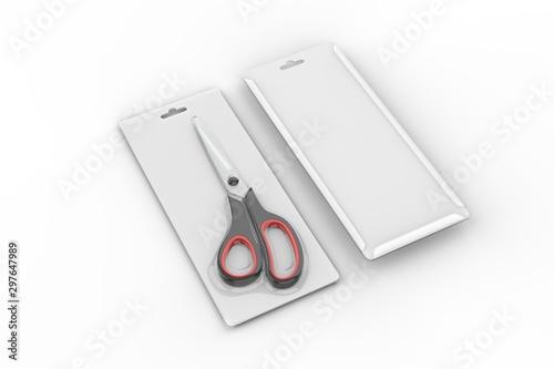 Valokuvatapetti Blank Heat seal plastic scissors packaging for branding