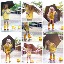 Happy Little Girl Having Fun In Rain. Collage Portrait. Kid Wearing Rubber Boots And Yellow Raincoat Standing On Bridge With Umbrella And Toy Ducks And Laughing At Camera