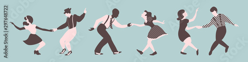 Three lindy hop dancing couples silhouettes on a blue background Wallpaper Mural