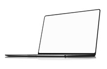 Laptop Frameless With Blank Screen Isolated On White Background Angle Perspective View - Super High Detailed Photorealistic