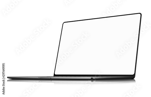 Obraz Laptop frameless with blank screen isolated on white background angle perspective view - super high detailed photorealistic - fototapety do salonu