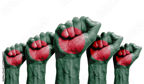 A raised fist of a protesters painted with the Bangladesh flag Canvas Print