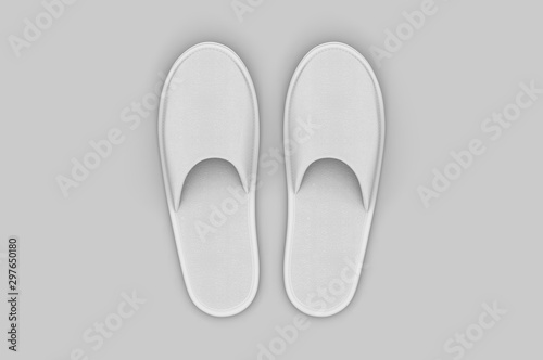 Photo Cotton Cloth Spa Slipper For Branding. 3d render illustration.