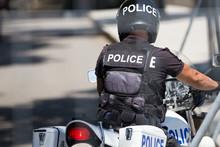 Police Officer On Police Bike,...