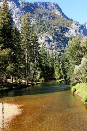 Merced River in Yosemite Valley below the granite peaks Canvas Print