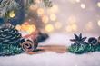 canvas print picture - Card Bokeh Nacht Weihnachtsstimmung