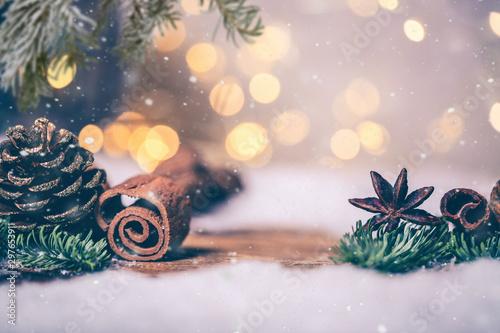 Card Bokeh Nacht Weihnachtsstimmung Canvas Print