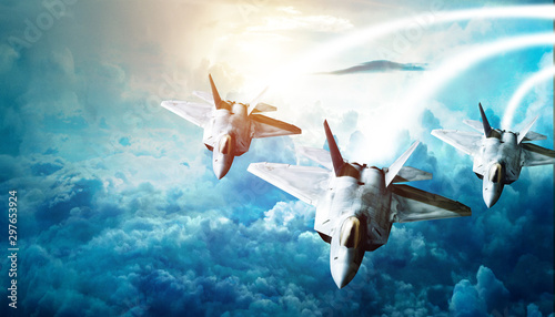 fighter planes flying in high altitude clouds Wallpaper Mural