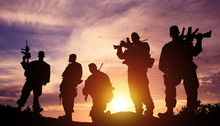 Silhouette Military Soldier In...