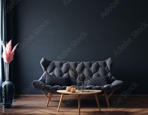 Home interior, luxury modern dark living room interior, black empty wall mock up, 3d render