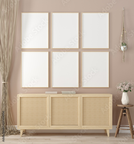 Poster Pierre, Sable Mock up frame in home interior background, warm beige room with natural wooden furniture, Scandinavian style, 3d render