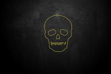 Yellow Skull And Crossbones On Blackboard