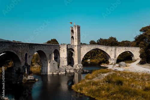 Famous romanic bridge of Besalu town, Spain