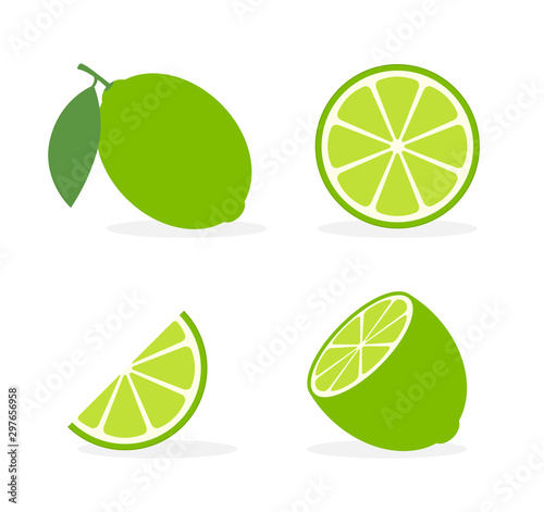 Fotografering Vector lime slice green illustration lemon isolated half fruit lime